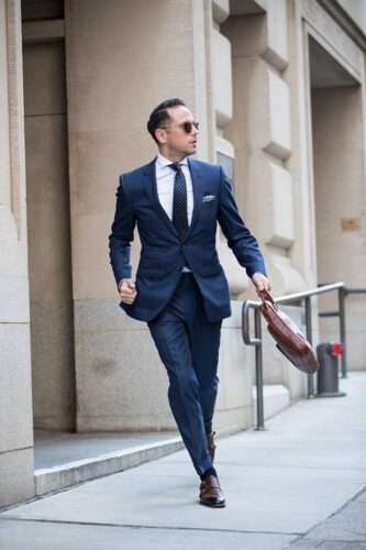 Blue-Suit-With-Brown-Shoes-and-Blue-Shirt.-333x500 20 Ways to Wear Blue Suits with Brown Shoes Ideas for Men