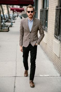Brown-Shoes-with-Black-Pants-and-Grey-Jacket 20 Outfit Ideas to Wear Black Pants with Brown Shoes for Men