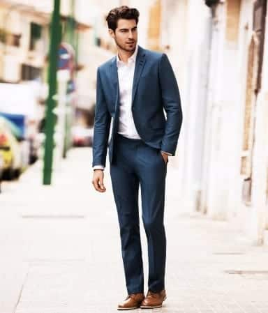 Casual-Wear 20 Ways to Wear Blue Suits with Brown Shoes Ideas for Men