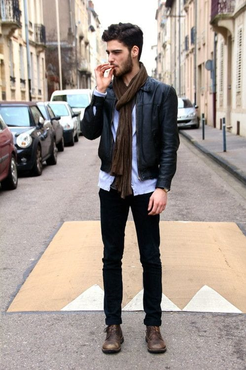 Party-Outfit-in-Brown-Shoes 20 Outfit Ideas to Wear Black Pants with Brown Shoes for Men