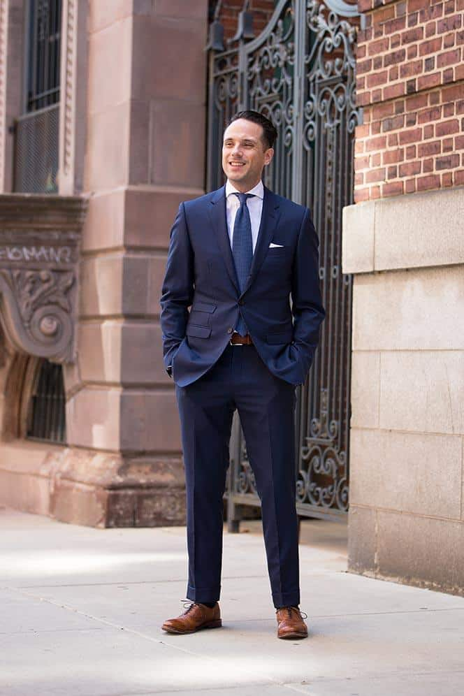 Navy Suit With Brown Shoes And Belt