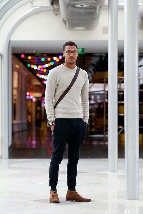 What-to-Wear-with-Brown-Ankle-Boots 20 Outfit Ideas to Wear Black Pants with Brown Shoes for Men