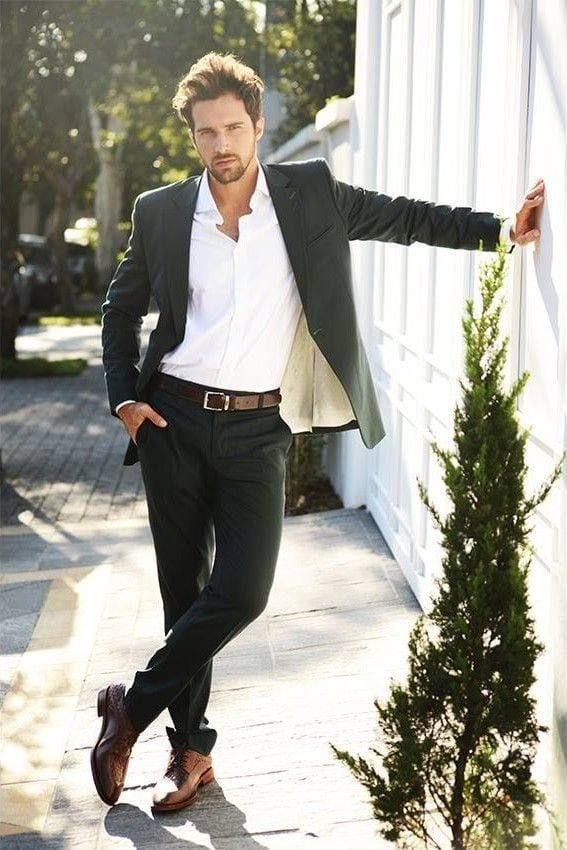 Work-Outfit 20 Outfit Ideas to Wear Black Pants with Brown Shoes for Men