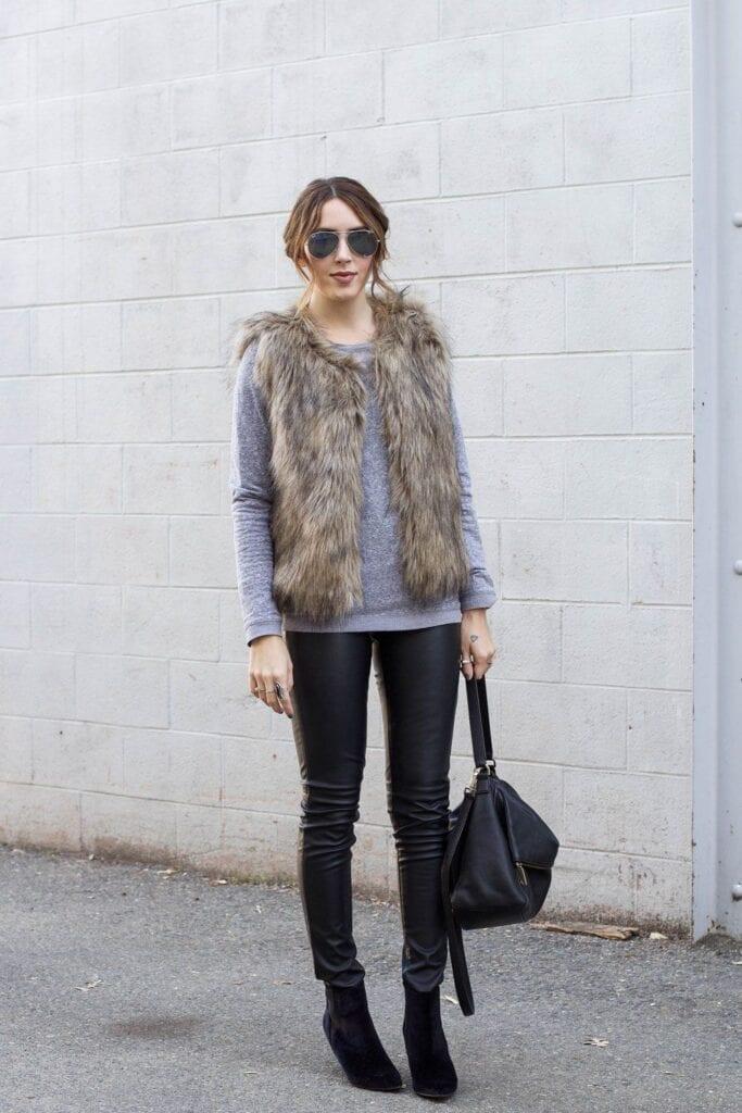fur-vest-683x1024 What to Wear with a Vest – 20 Best Vest Outfit Ideas for Women
