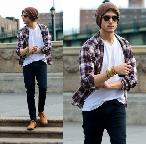 how-to-wear-a-flannel-shirt-over-a-tee-500x495 Guys Flannel Shirts - 20 Best Flannel Outfit Ideas for Men