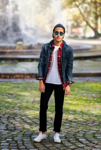 how-to-wear-a-flannel-with-a-jeans-jacket-338x500 Guys Flannel Shirts - 20 Best Flannel Outfit Ideas for Men
