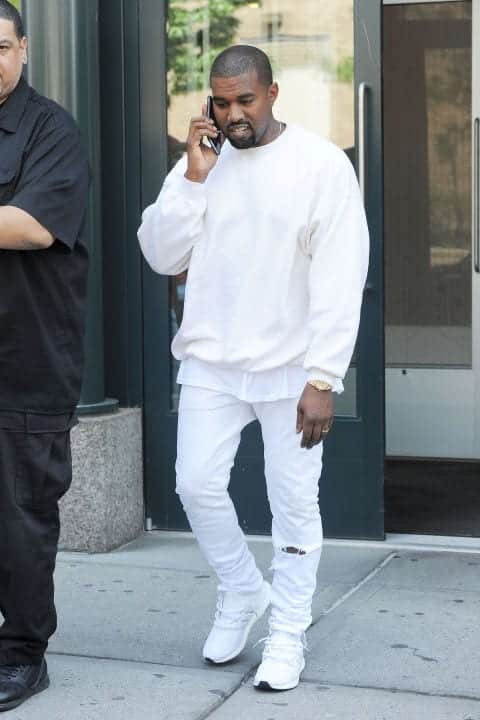 kanye-west-white-jeans White Jean Outfits for Men-Top 25 Ideas for White Jeans Guys