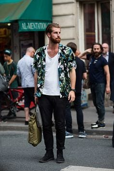 how to wear a floral shirt outfit for men