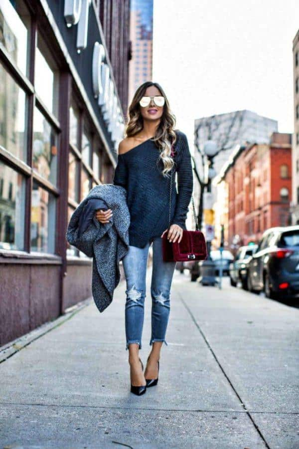 off-shoulder-shirt-with-velvet-bag Outfits with Velvet Bags- 20 Ideas to Wear with a Velvet Bag