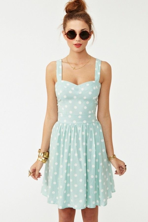 polka-dots-summer-dress-for-teenage-girls Teenage Girls Fashion-20 Outfit Ideas For Teen Girls In Summer