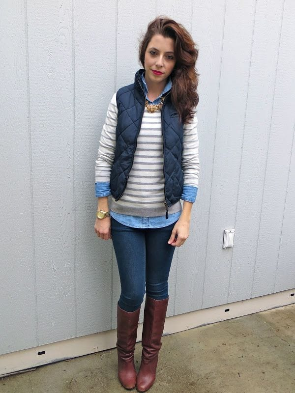 quilted-vest What to Wear with a Vest – 20 Best Vest Outfit Ideas for Women