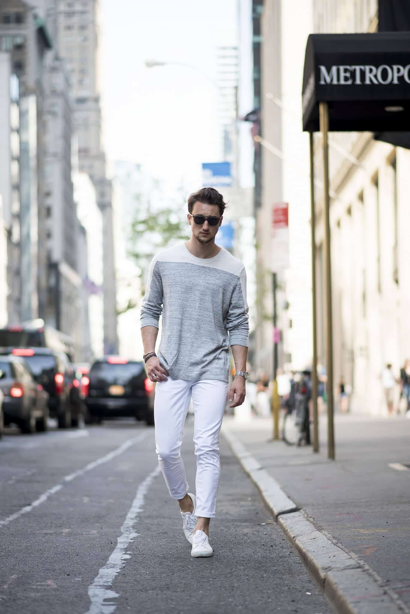 White Jean Outfits for Men-Top 25 Ideas for White Jeans Guys