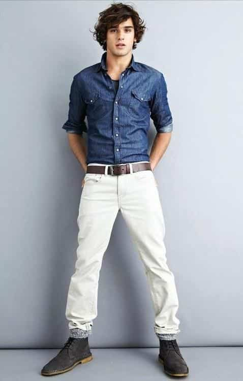 white-jeans-and-denim-shirt White Jean Outfits for Men-Top 25 Ideas for White Jeans Guys