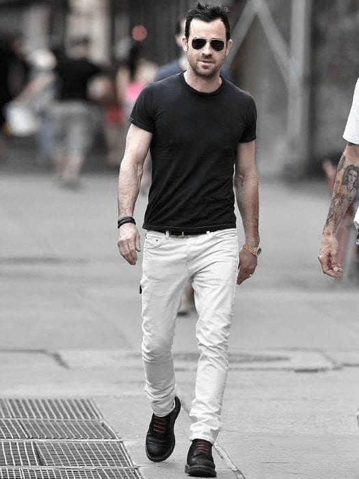 white-jeans-black-shirt White Jean Outfits for Men-Top 25 Ideas for White Jeans Guys