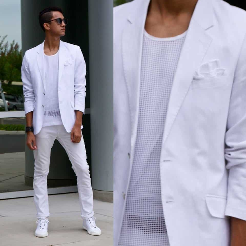 white-jeans-with-white-shirt White Jean Outfits for Men-Top 25 Ideas for White Jeans Guys