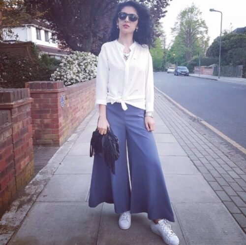with-a-button-down-500x497 Top 20 Ways to Style Palazzo Pants with Sneakers for Women