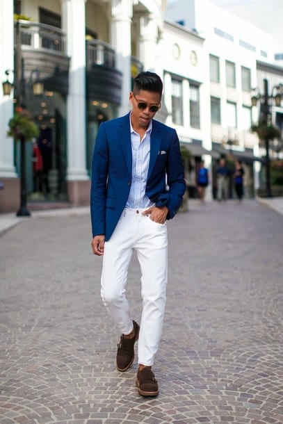 with-blazer White Jean Outfits for Men-Top 25 Ideas for White Jeans Guys