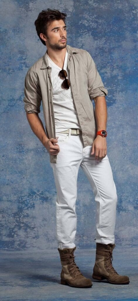with-boots-471x1024 White Jean Outfits for Men-Top 25 Ideas for White Jeans Guys