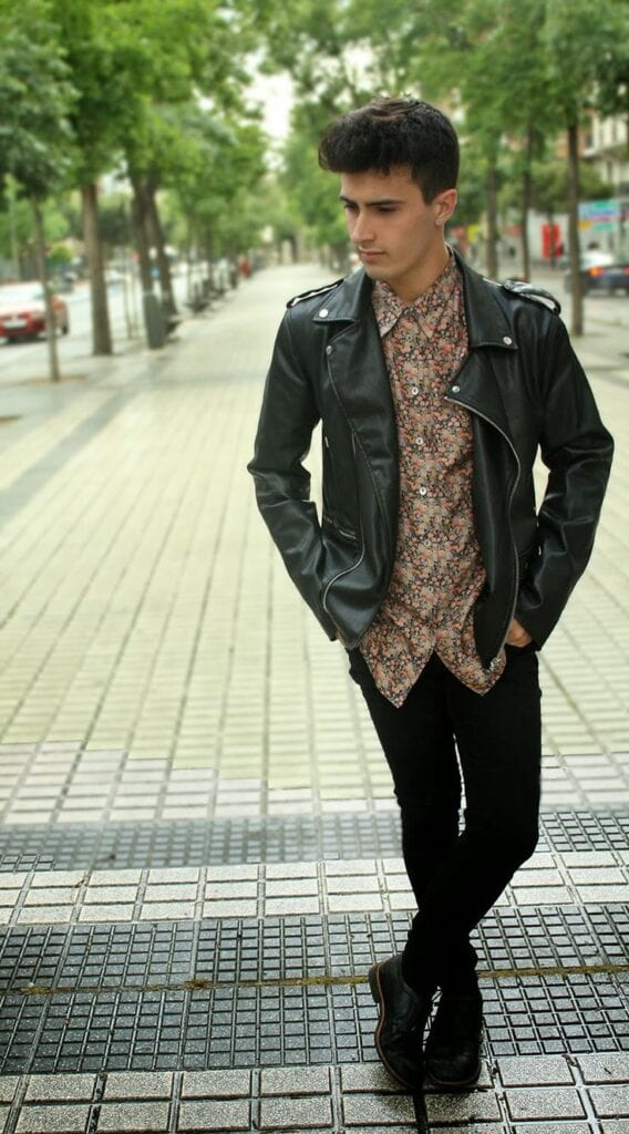 with-leather-568x1024 Floral Shirt Outfit for Men-25 Ways to Wear Guys Floral Shirts