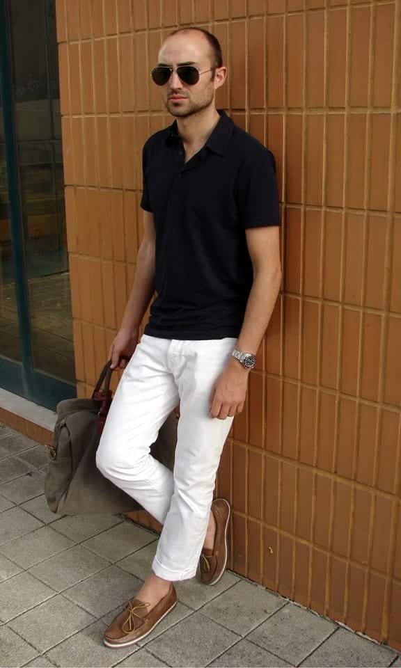 with-polo-shirt White Jean Outfits for Men-Top 25 Ideas for White Jeans Guys