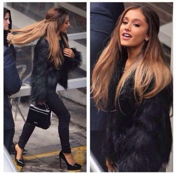 Ariana-Grandes-fur-coat 20 Best College Hairstyles for Girls with Medium Length Hair