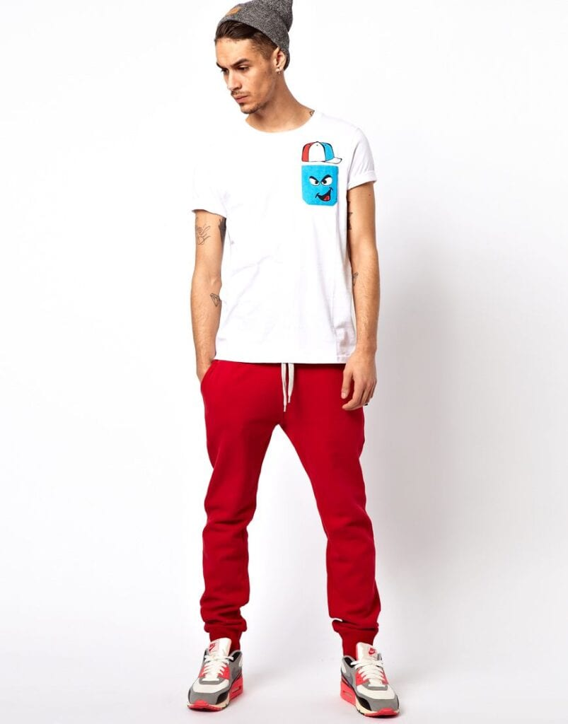 Colorful-Sneakers-With-Red-Sweatpants-For-Men-803x1024 Men's Sweatpants Shoes-20 Shoes To Wear With Guys Sweatpants