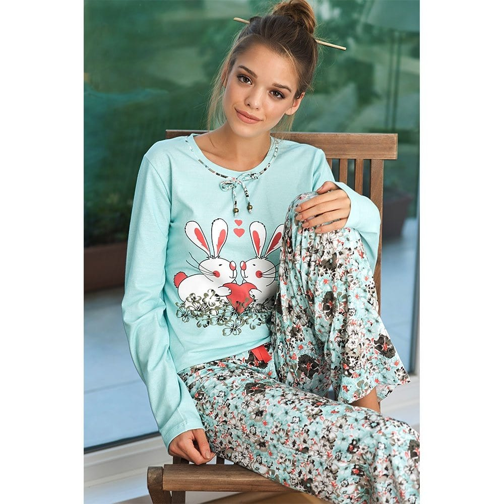 Cute-Bunny-Printed-Light-Blue-PJs Girls Summer Home Wear-33 Best Ideas on What to Wear at Home