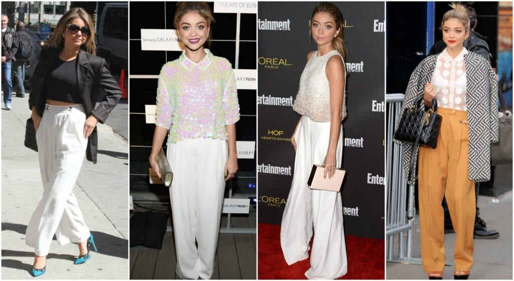 Different-Style-Of-Palazzo-Pants-With-Short-Heighted-Sarah-Hyland-1024x561 20 Ideas How to Wear Palazzo Pants if You Have a Short Height