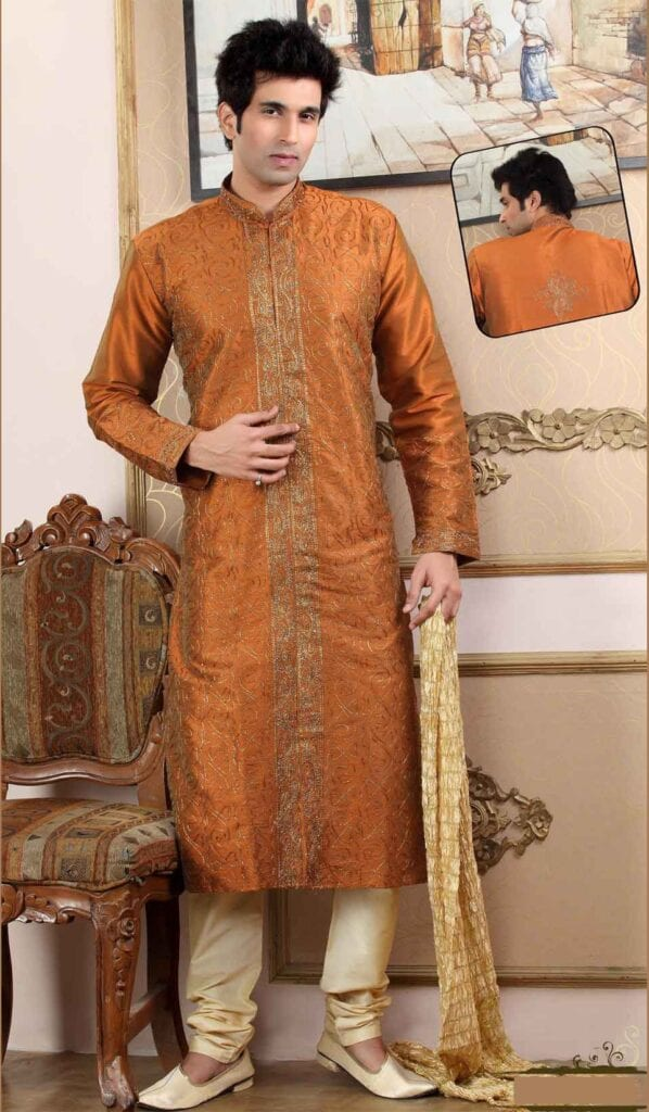 Embroidered-Kurta-With-Choridaar-Pajama-And-A-Stole-598x1024 Kurta Pajama for Men-18 Men's Kurta Pajama Styles for Wedding