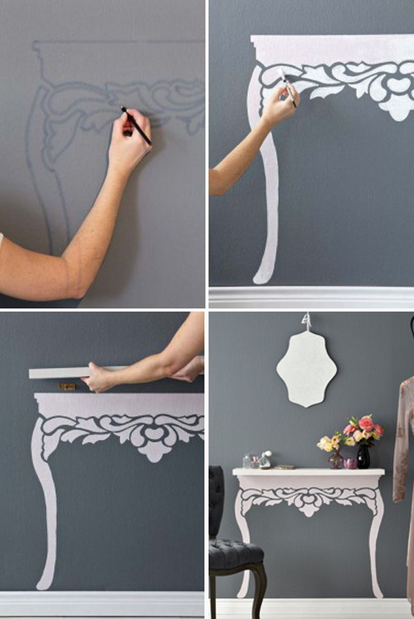 Floating-table Hacks for Home Decor- 25 Cheap DIY Home Decor Projects
