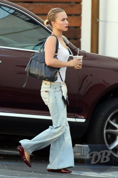 Hayden-Panettiere-In-DEnim-Palazzo-Pants-With-Tank-Top 20 Ideas How to Wear Palazzo Pants if You Have a Short Height