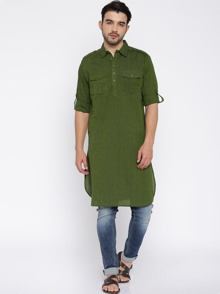 Kurta-With-Shoulder-Tabs-And-Rolld-Up-Tabs-For-a-Chic-Look-At-The-Weddings-768x1024 Kurta Pajama for Men-18 Men's Kurta Pajama Styles for Wedding
