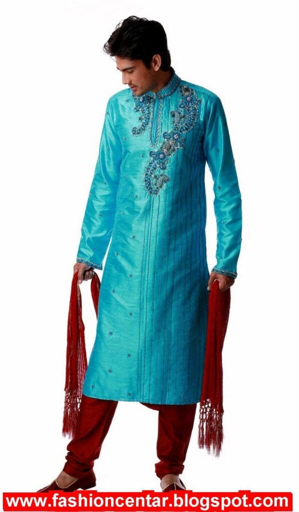 Kurta-With-Tilla-And-Embroidery-On-The-Band-And-Necklines-598x1024 Kurta Pajama for Men-18 Men's Kurta Pajama Styles for Wedding