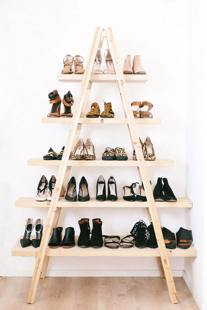 Ladder-shoe-rack-683x1024 Hacks for Home Decor- 25 Cheap DIY Home Decor Projects