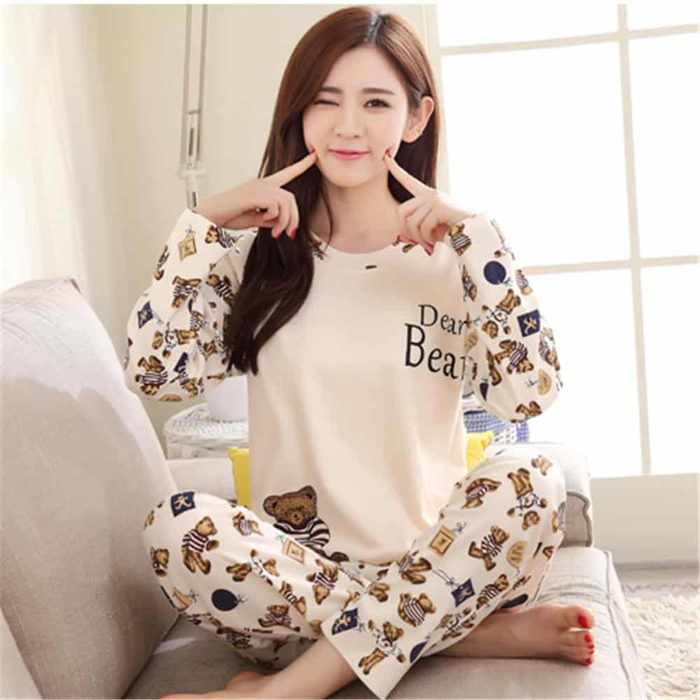 Light-Colored-Printed-Pajamas Girls Summer Home Wear-33 Best Ideas on What to Wear at Home