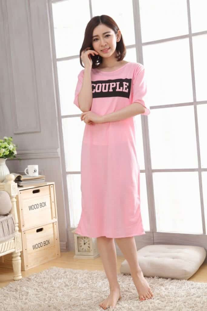 Long-Pink-Cotton-Dress-683x1024 Girls Summer Home Wear-33 Best Ideas on What to Wear at Home
