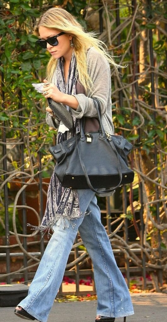 Mary-Kate-Olsen-Wearing-Palazzo-Denims-531x1024 20 Ideas How to Wear Palazzo Pants if You Have a Short Height