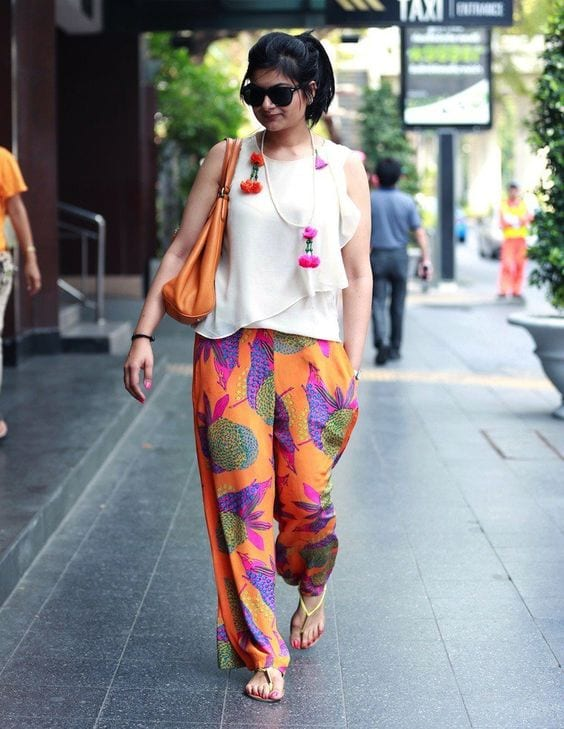 ORange-Palazzo-With-a-Cute-PRinted-Shit-With-Ruffles 20 Outfit Ideas to Wear Short Shirts with Palazzo Pants