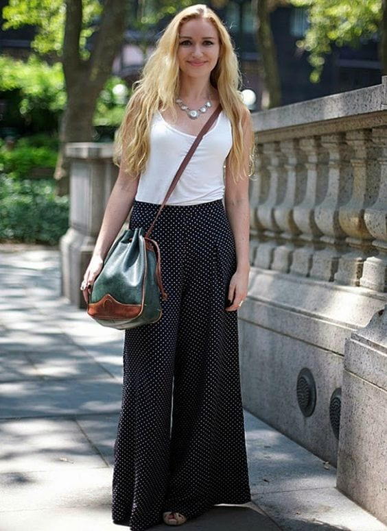 Polka-Dots-Palazzo-Pants-For-Shot-Height-Girls 20 Ideas How to Wear Palazzo Pants if You Have a Short Height