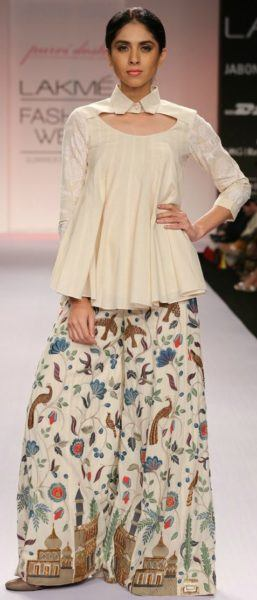 Printed-Palazzo-With-Plain-White-Shirt 20 Outfit Ideas to Wear Short Shirts with Palazzo Pants
