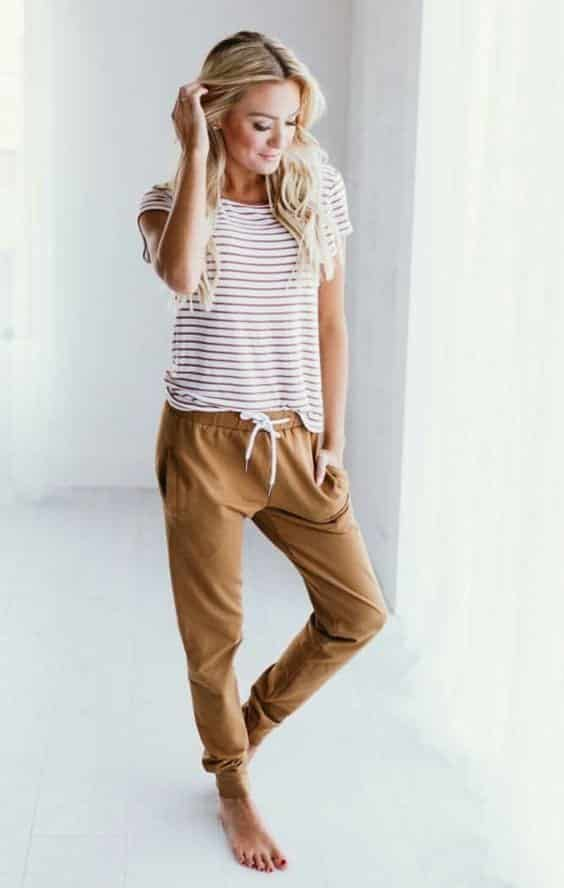 Striped-T-Shirt-With-Khaki-Ocher-Pants Girls Summer Home Wear-33 Best Ideas on What to Wear at Home