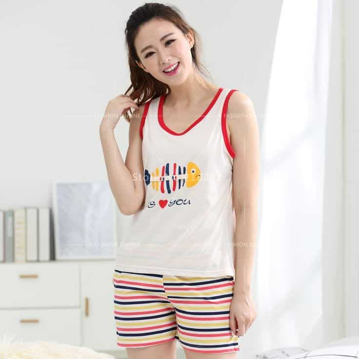 Tank-Top-With-Colorful-Striped-Pjs-Shorts Girls Summer Home Wear-33 Best Ideas on What to Wear at Home