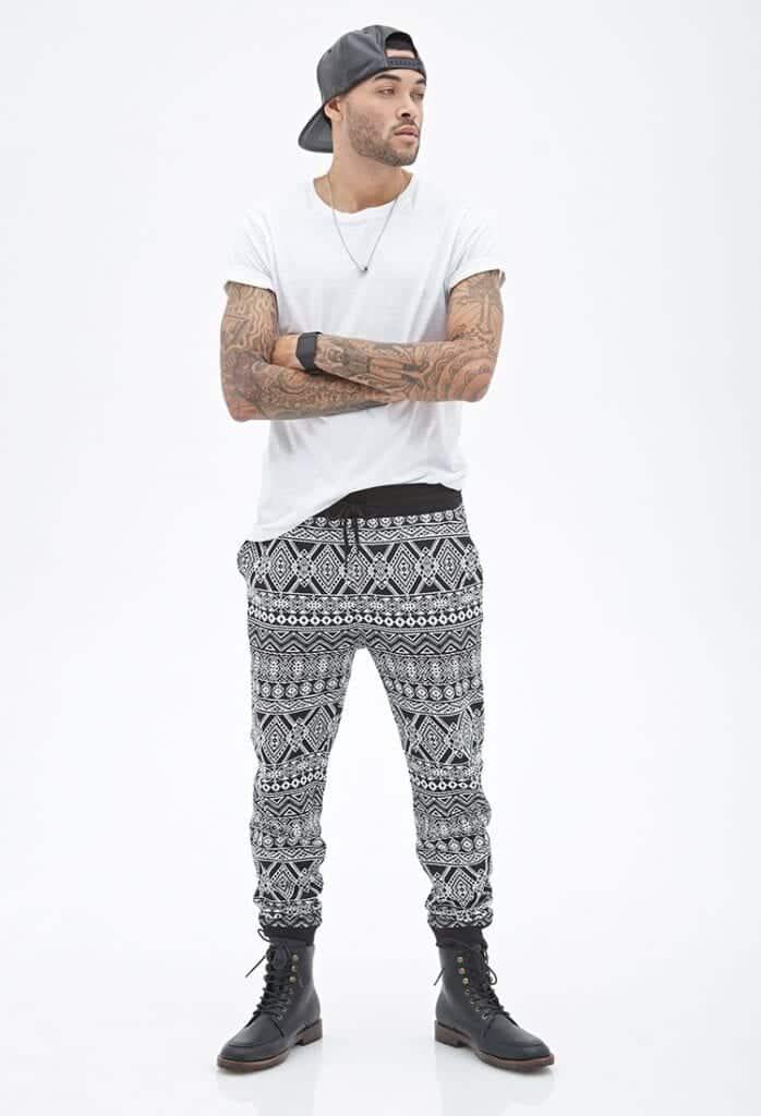 Tribal-Print-Sweatpants-With-Boots-698x1024 Men's Sweatpants Shoes-20 Shoes To Wear With Guys Sweatpants