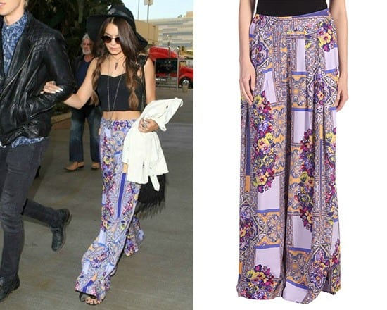 Vanessa-Hudgens-Rocking-The-Traveler-Palazzo-Pants-With-Short-Top 20 Ideas How to Wear Palazzo Pants if You Have a Short Height