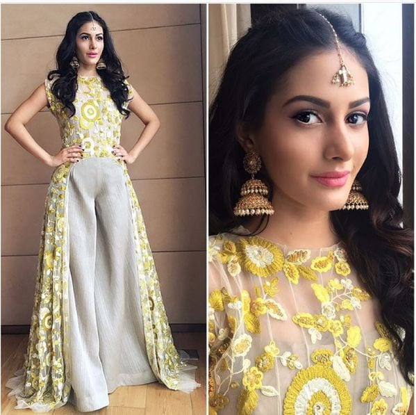 Yellow-Long-Dress-With-Beautiful-Embroidery 20 Outfit Ideas to Wear Short Shirts with Palazzo Pants