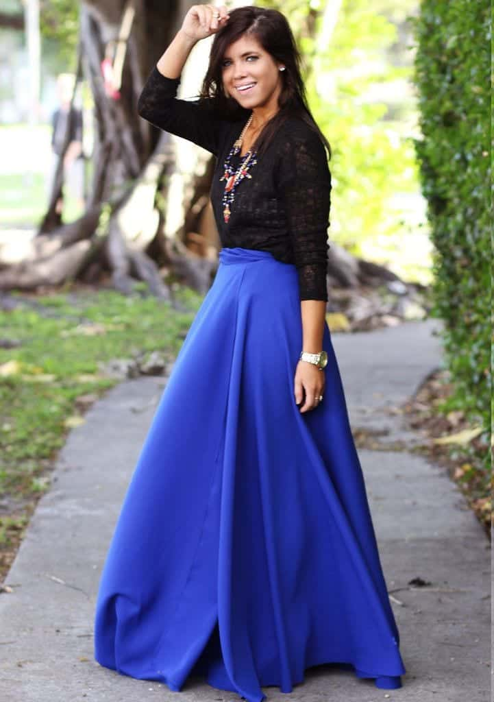 Cobalt Blue Skirt Outfits- 25 Ways to Wear Cobalt Blue Skirt