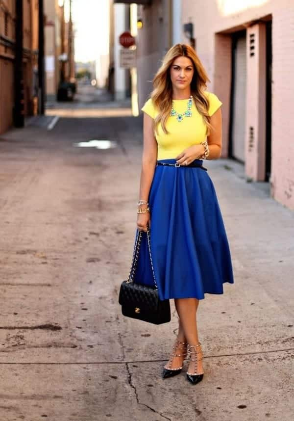 how to wear cobalt blue skirts (8)