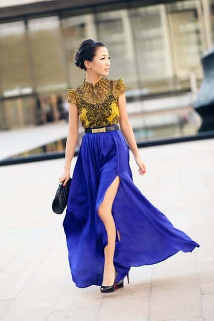 how to wear cobalt blue skirts (1)