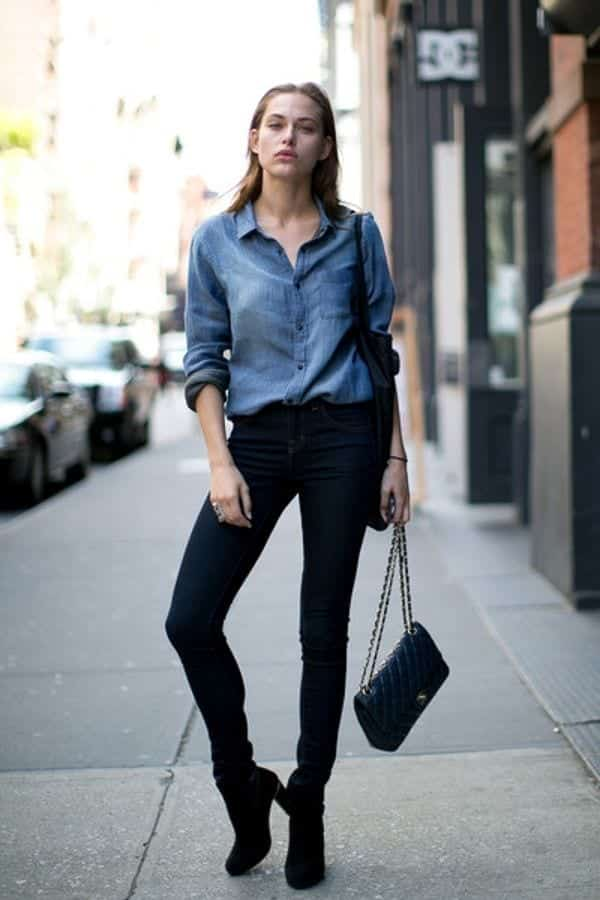 denim-shirt-and-jeans College Girls Dressing–18 Ideas & Tips to Dress Well in College