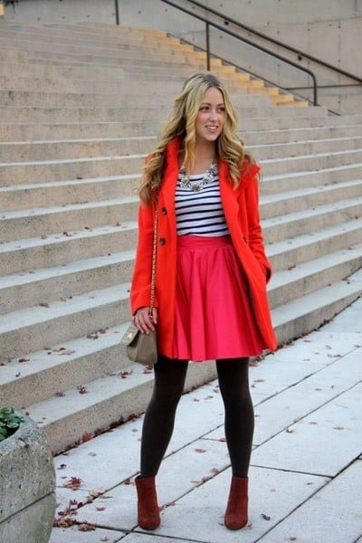 hot-pink-a-line-skirt Outfits with Pink Skirts-30 Ideas How to Wear Hot Pink Skirts